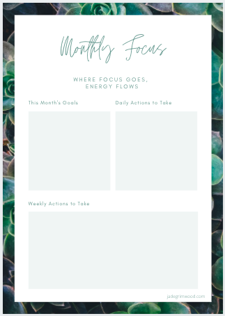 A preview of the Monthly Focus Template